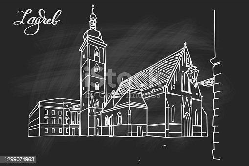 istock Vector sketch of Church of St.Mark in St.Mark's square in upper town in Zagreb, Croatia 1299074963