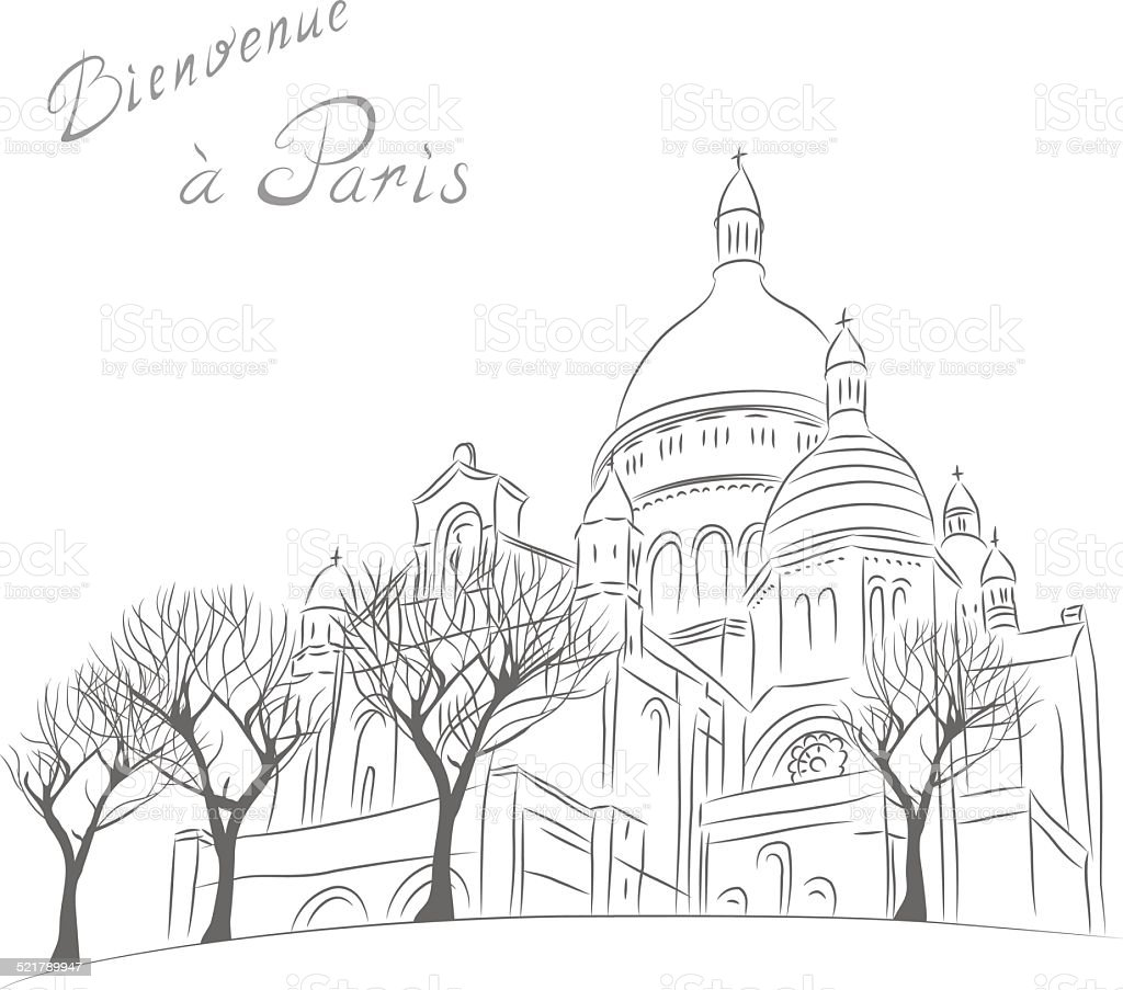 Vector sketch of cityscape with Sacre Coeur in Paris vector art illustration
