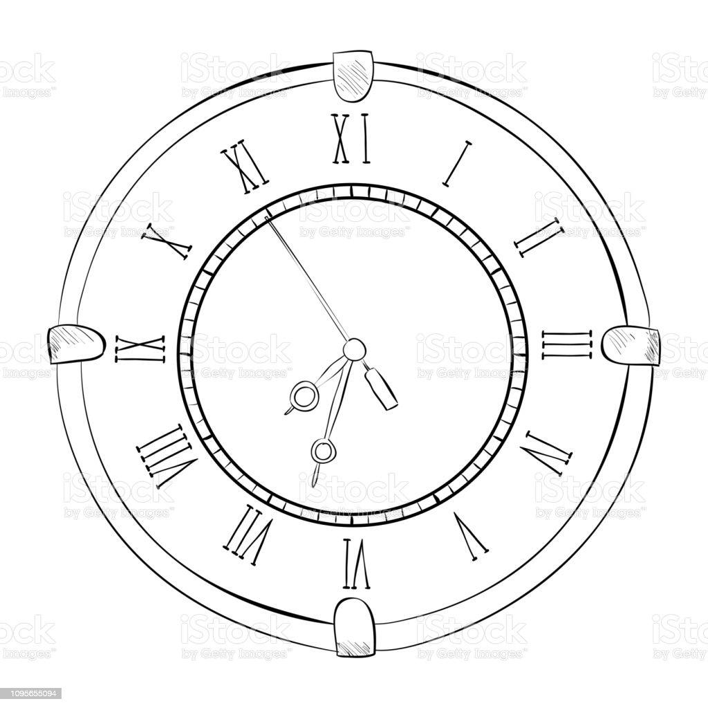 Vector sketch of clock vector art illustration