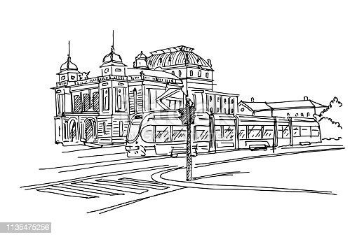 Vector sketch of Croatian National Theater in Zagreb, Croatia.