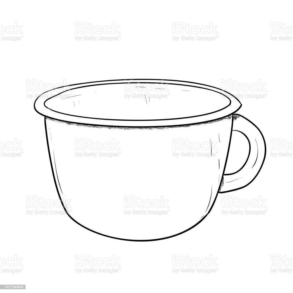 Vector sketch of cup vector art illustration