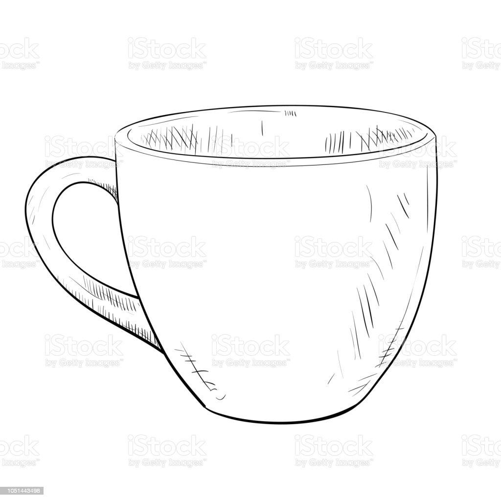 Vector sketch of cup. vector art illustration