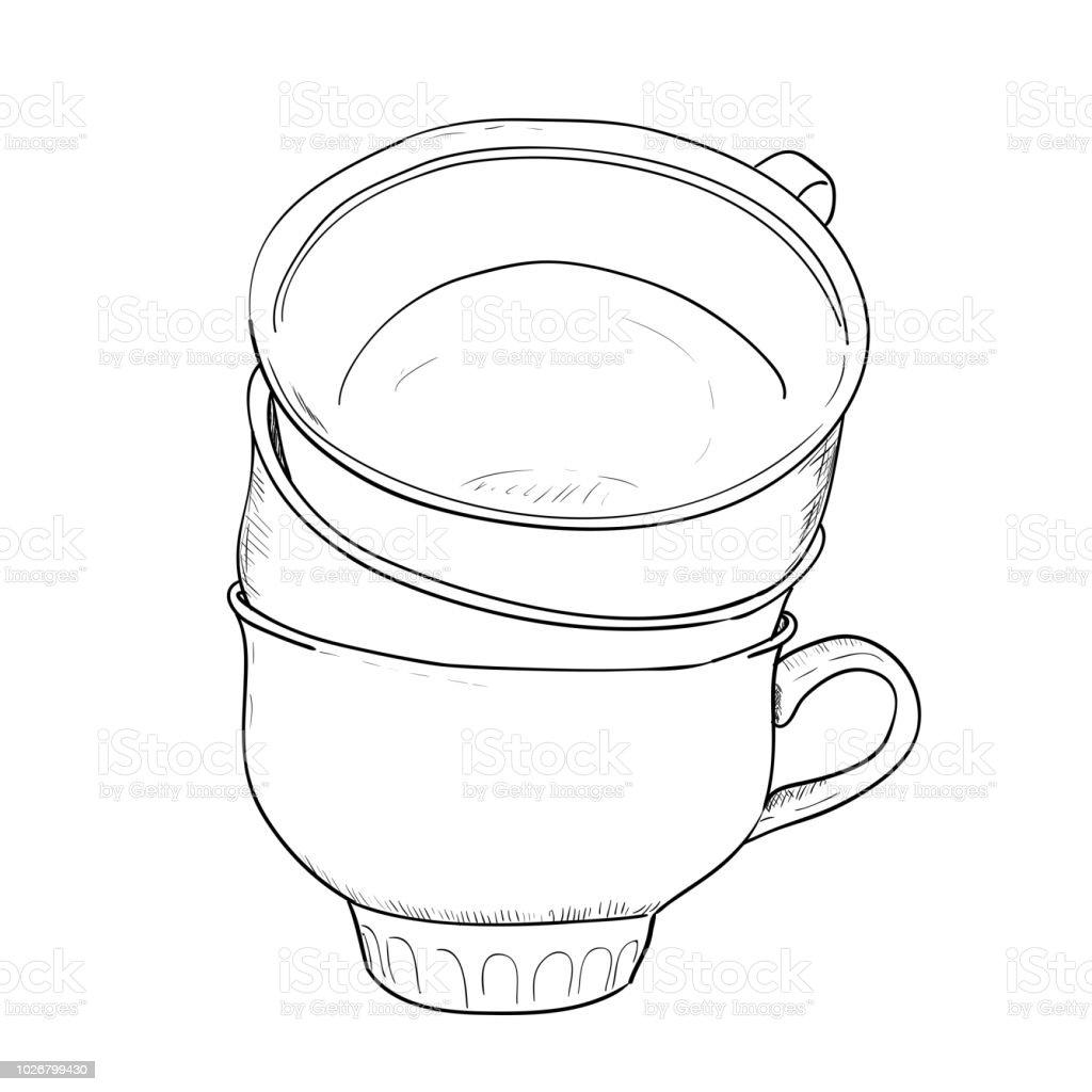 Vector sketch of cups vector art illustration