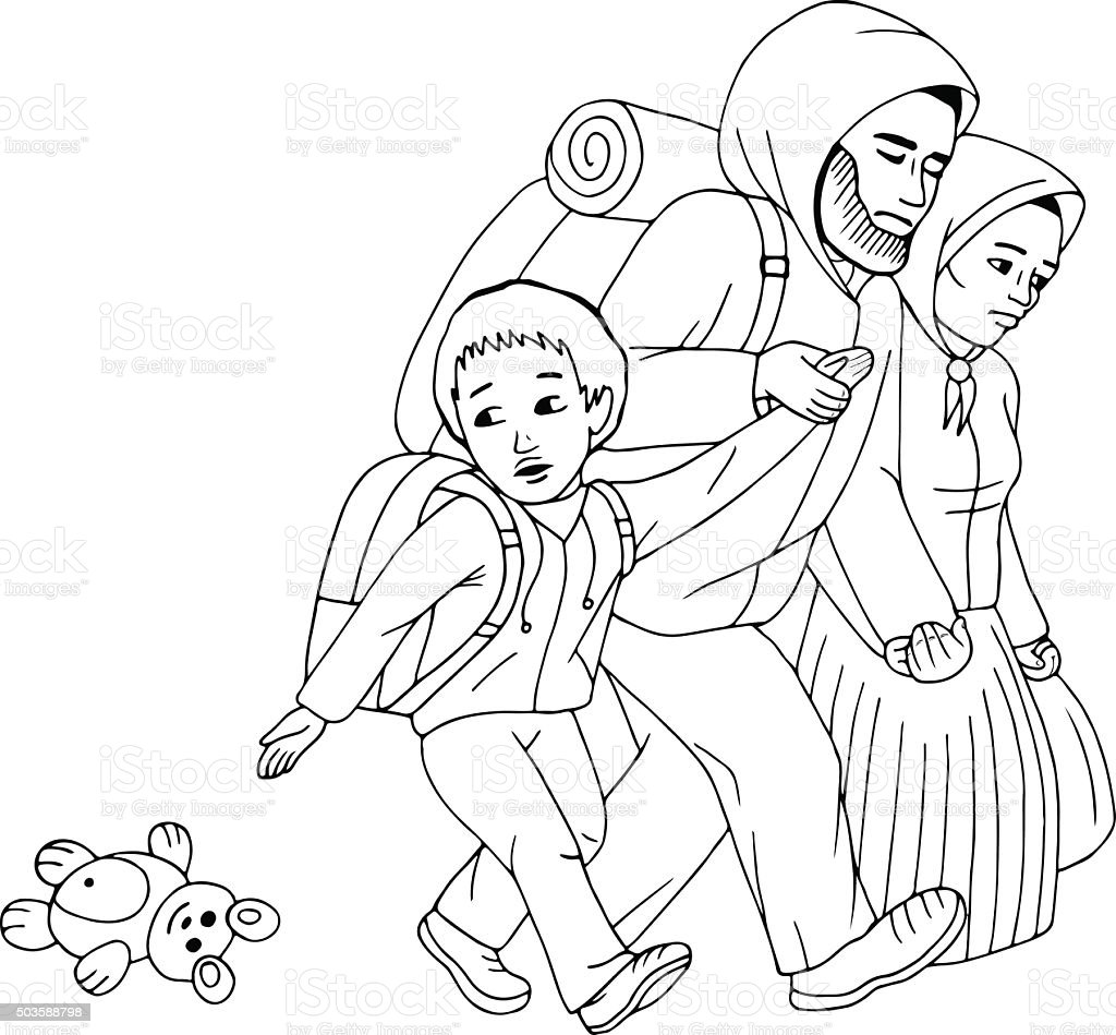 Vector Sketch Of Immigrant Family Refugees Family Stock