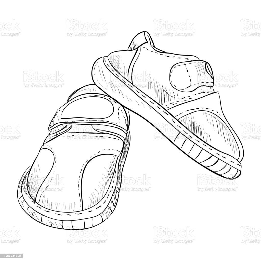 Vector sketch of kid boots. vector art illustration