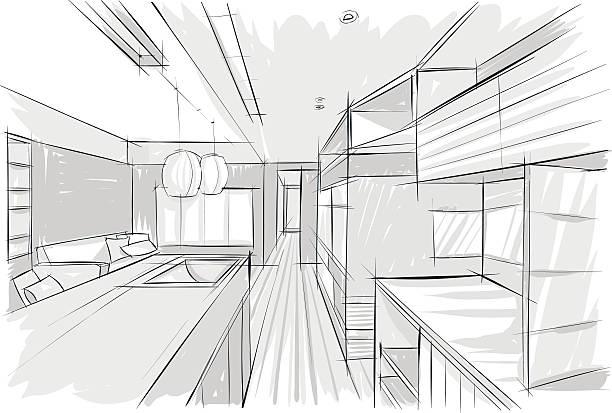Vector sketch of kitchen vector art illustration