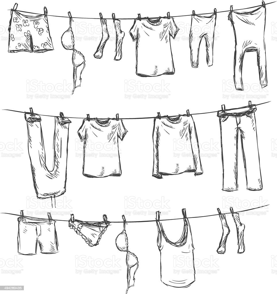 Vector Sketch of Laundry on a Rope vector art illustration