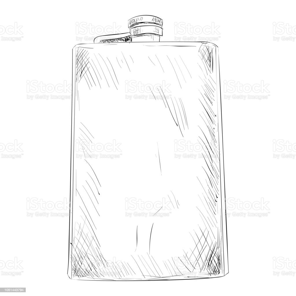 Vector sketch of military or hunting flask vector art illustration