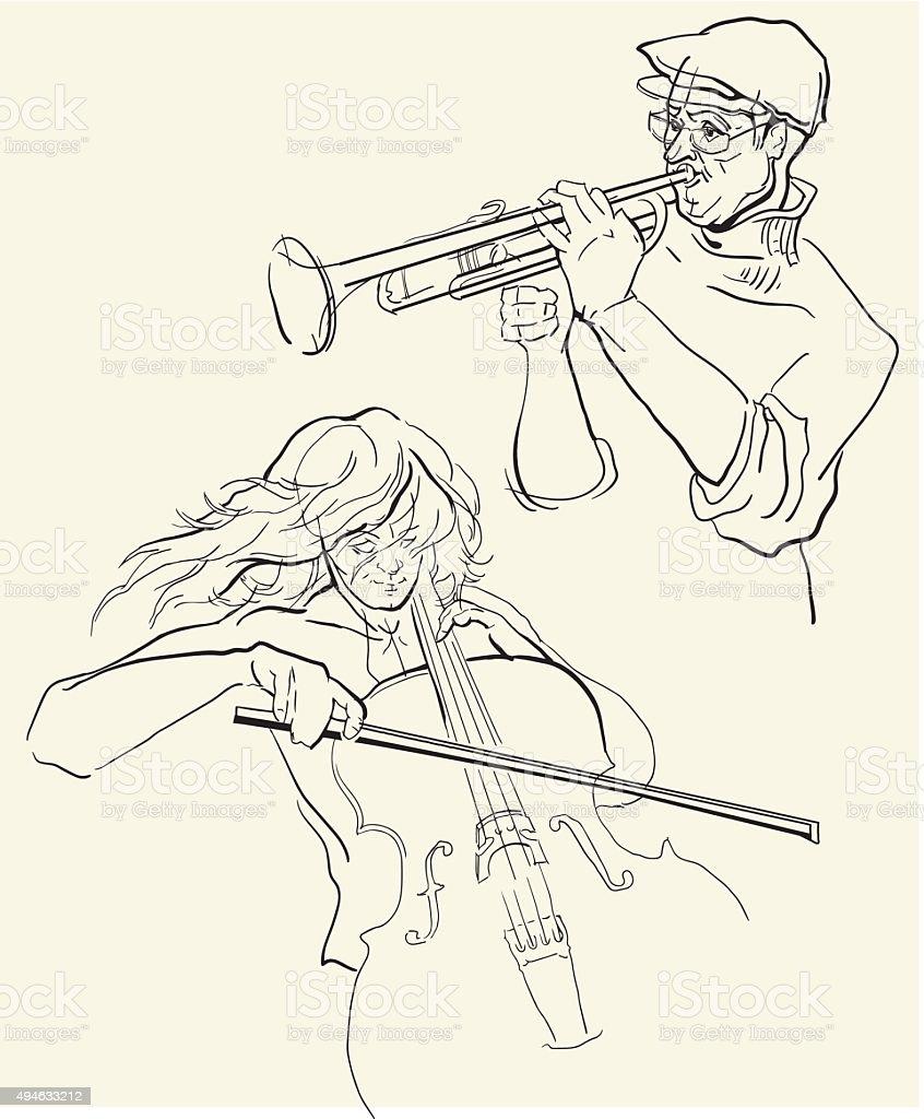 Vecteur croquis de musicants. - Illustration vectorielle
