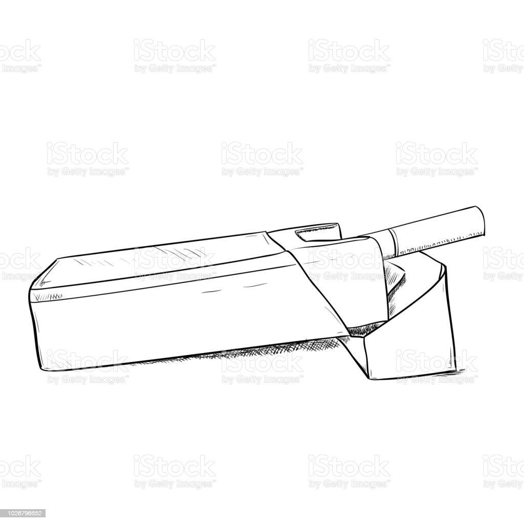 Vector sketch of pack cigarettes vector art illustration