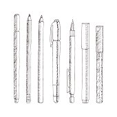 Vector sketch of pencils and pens. Hand drawn illustration.