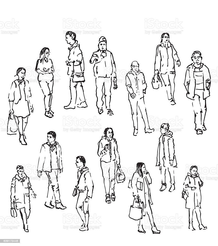 sketch vector cartoon activity illustration adult clothing