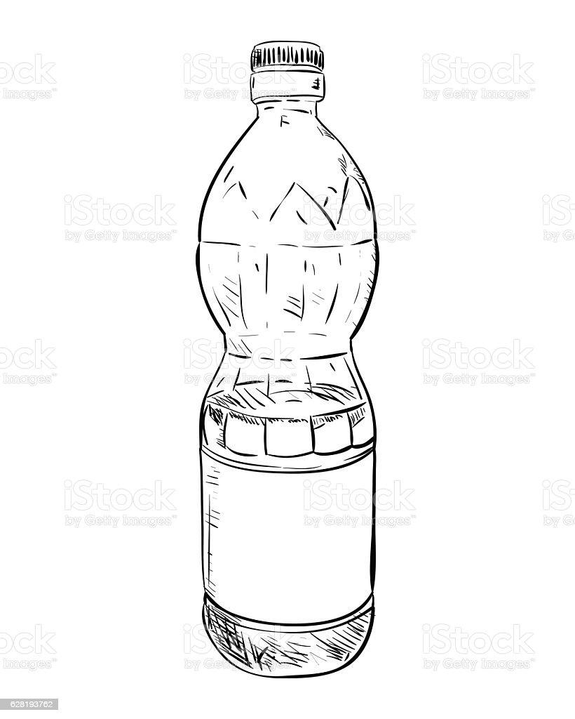 Vector sketch of plastic bottle vector art illustration