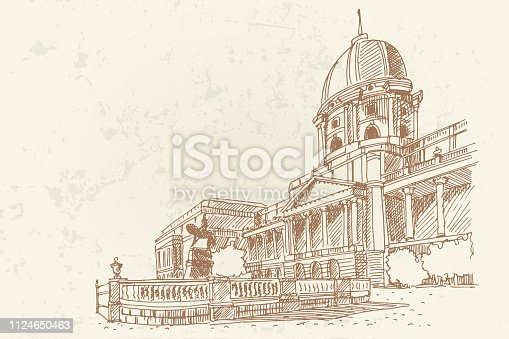 Vector sketch of Royal palace in Budapest, Hungary. Artistic retro style.