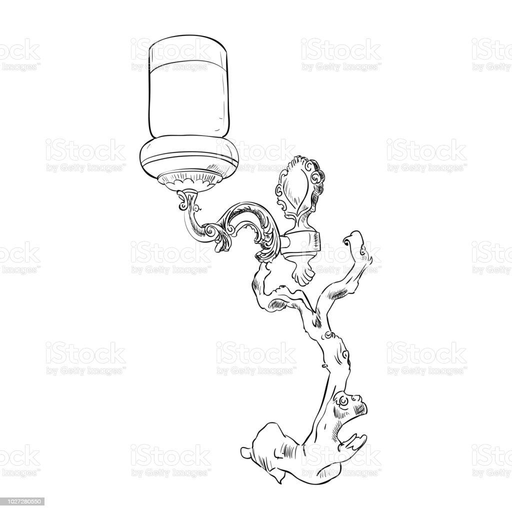 Vector sketch of sconce vector art illustration
