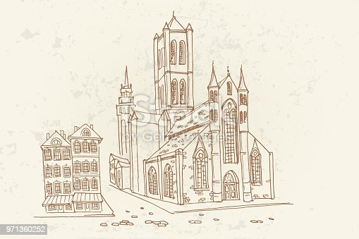 Vector sketch of St Nicholas' Church in Ghent, Belgium