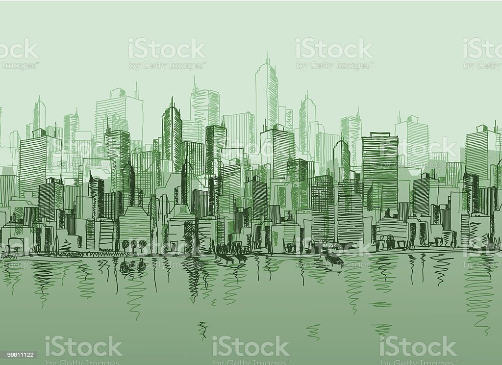 Vector sketch of the a cityscape in various green tones - Royalty-free Architectuur vectorkunst