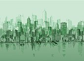 istock Vector sketch of the a cityscape in various green tones 96611122
