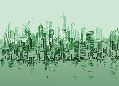 Vector Sketch Of The A Cityscape In Various Green Tones Stockvectorkunst en meer beelden van Architectuur