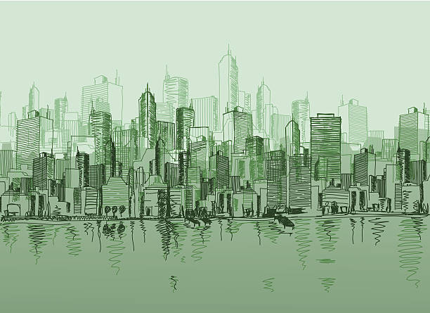 Vector sketch of the a cityscape in various green tones Vector sketch of the a cityscape in various green tones waterfront stock illustrations