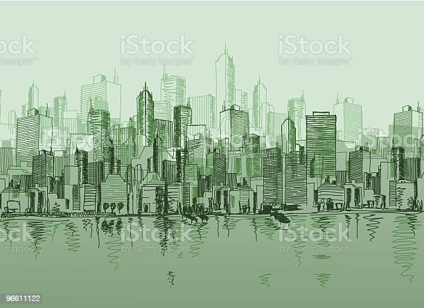 Vector Sketch Of The A Cityscape In Various Green Tones-vektorgrafik och fler bilder på Arkitektur