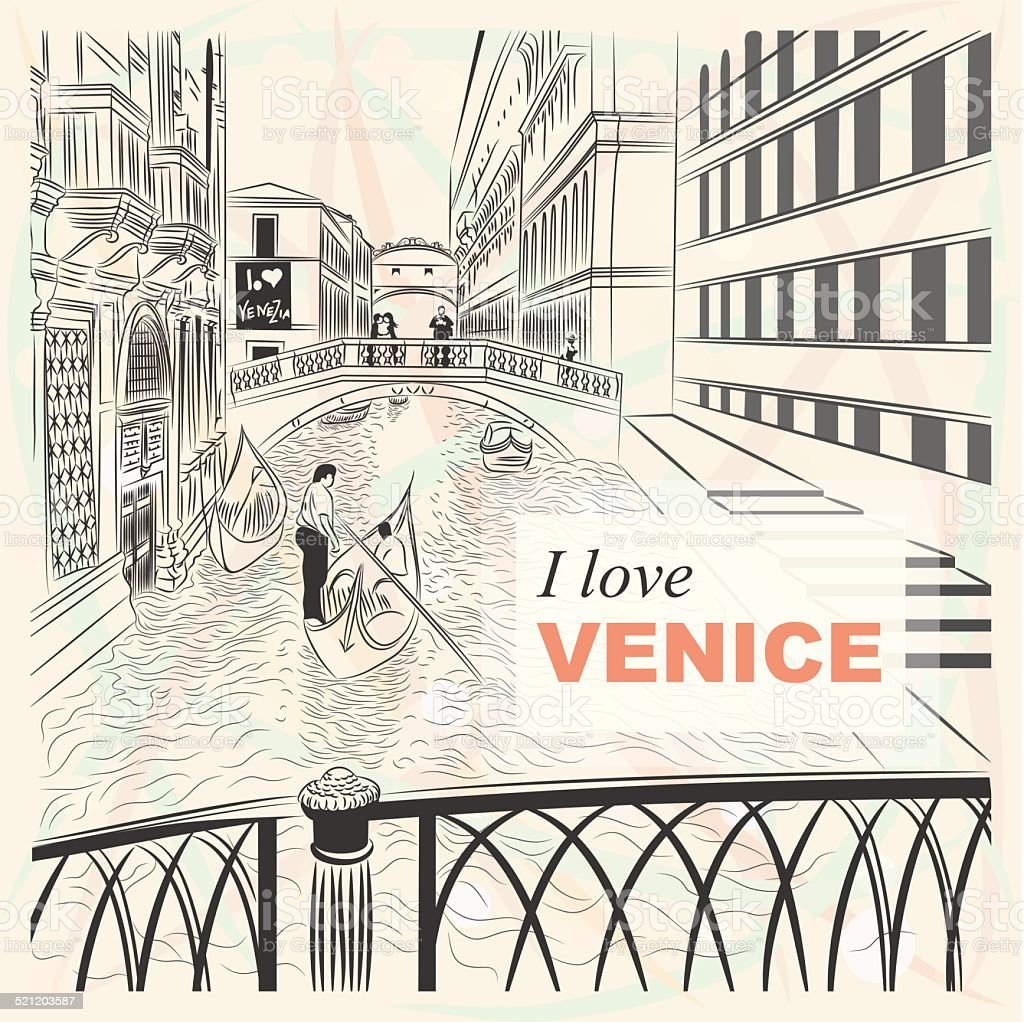 vector sketch of the Bridge of Sighs in Venice vector art illustration
