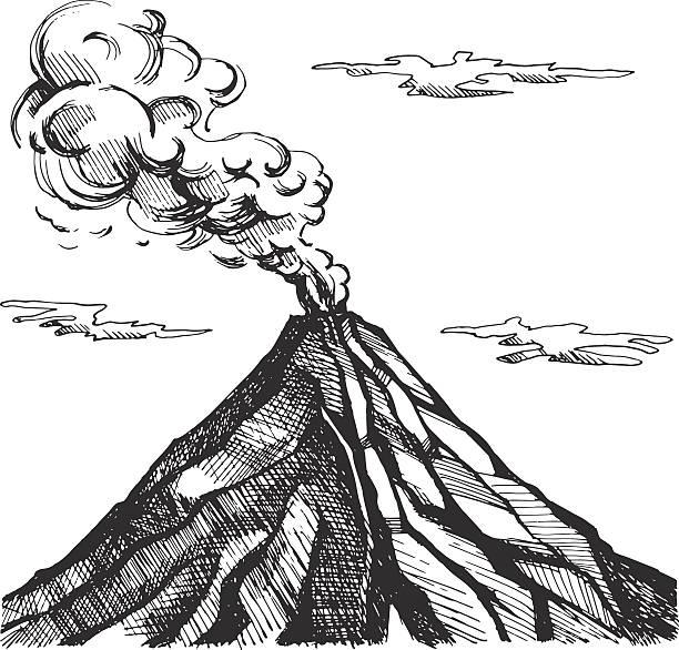 vector sketch of the volcano - vulkane stock-grafiken, -clipart, -cartoons und -symbole