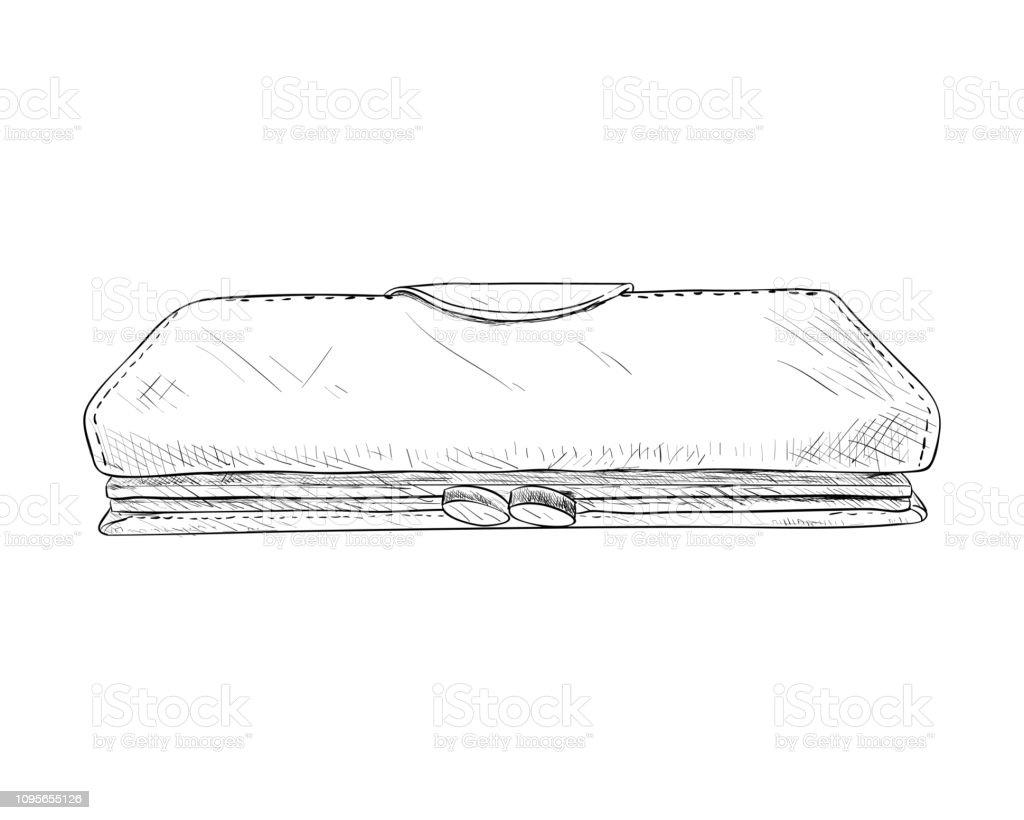 Vector sketch of wallet. vector art illustration