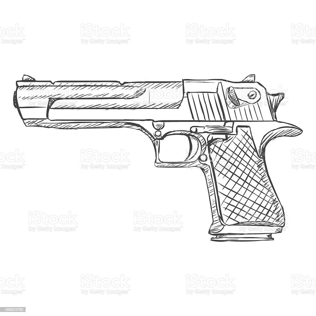 vector sketch pistol stock vector more images of