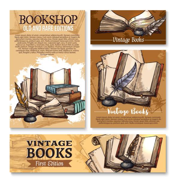 stockillustraties, clipart, cartoons en iconen met vector schets poster voor oude vintage boeken bibliotheek - stekels