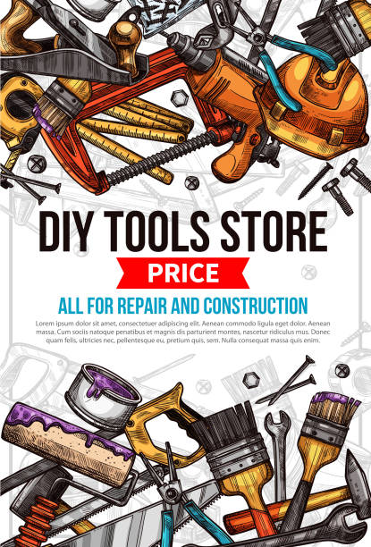 Vector sketch poster of home repair work tools DIY work tools store sketch price poster template. Vector design of carpentry and woodwork toolbox for home renovation and house repair of grinder, hammer or saw and drill, ruler or paint brush gardening equipment stock illustrations