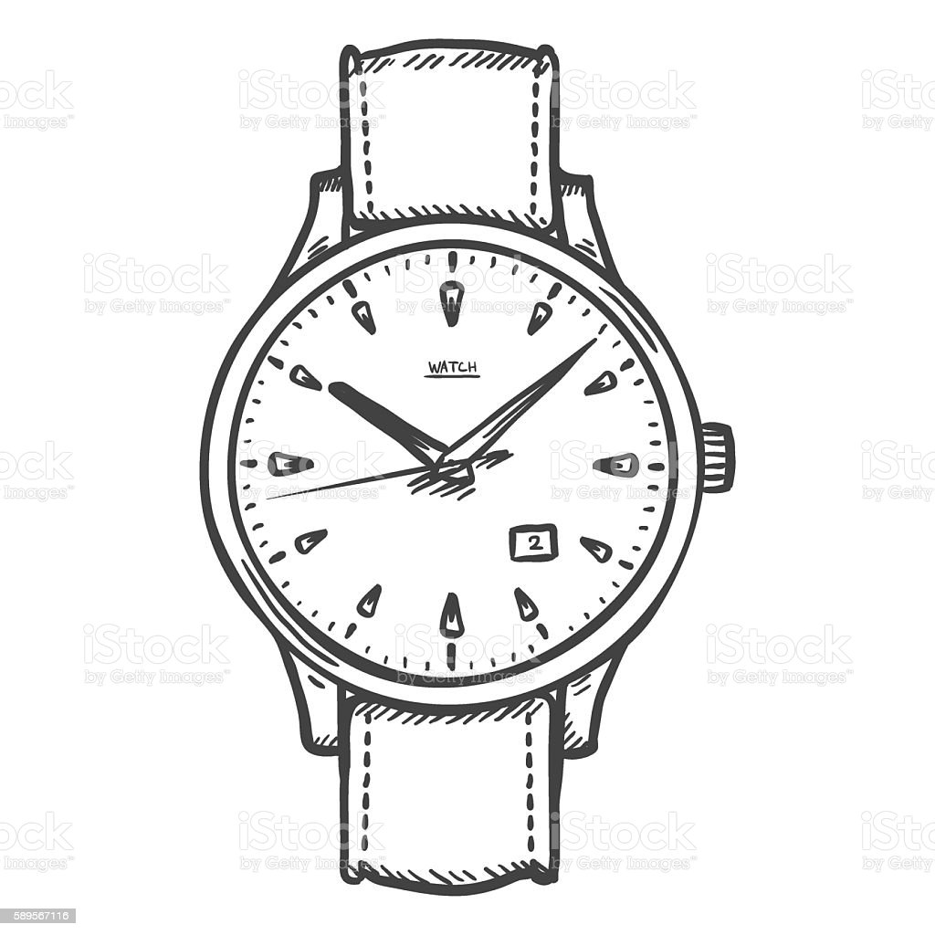 Drawing Lines On Your Wrist : Vector sketch retro wrist watch stock art more