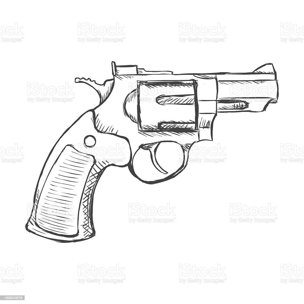 Free Line Art Converter : Vector sketch revolver pistol stock art more