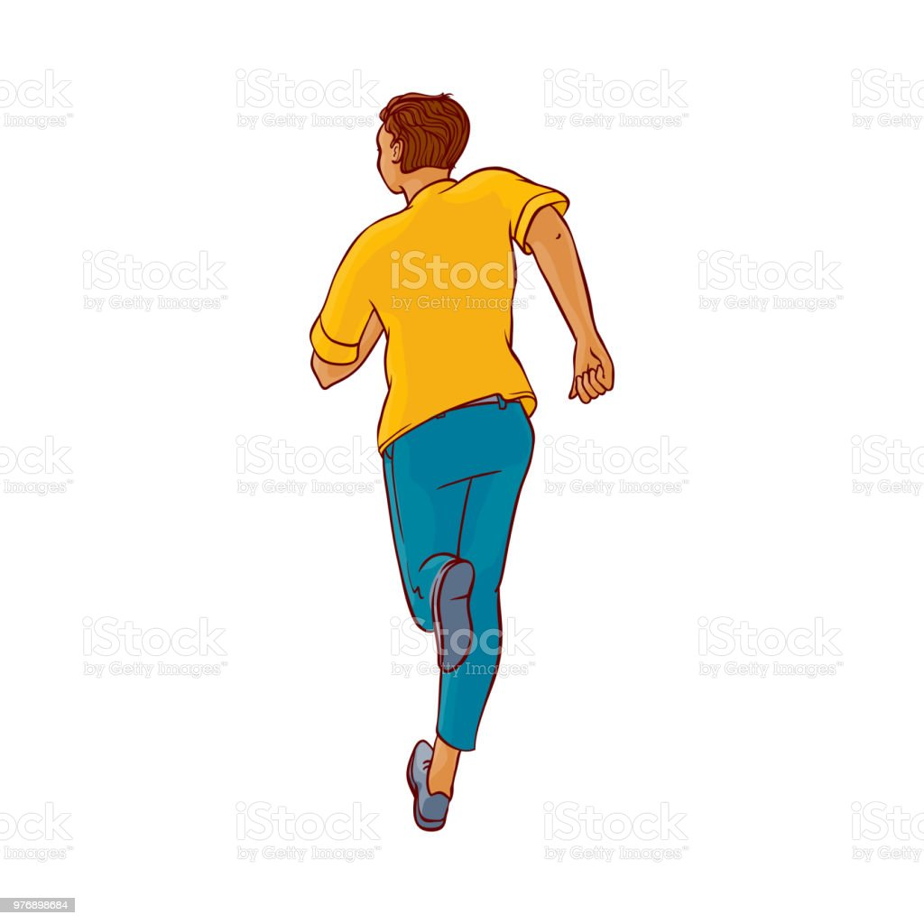 Vector Sketch Running Man Ranaway Character Stock Illustration