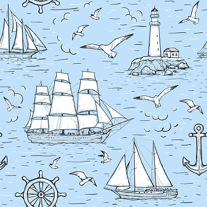 Vector sketch seamless marine pattern with sailing ship, lighthouse, seagulls, anchor. Design on blue background