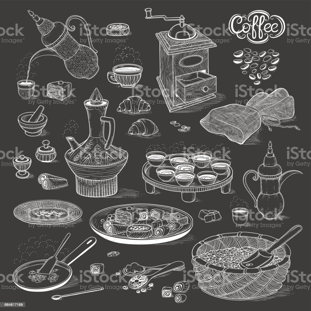 Vector sketch set Arabic cup and coffeepot, vintage coffee grinder, Oriental sweets, roasted coffee beans. Illustration black and white items of the coffee ceremony. On the chalk board style vector art illustration