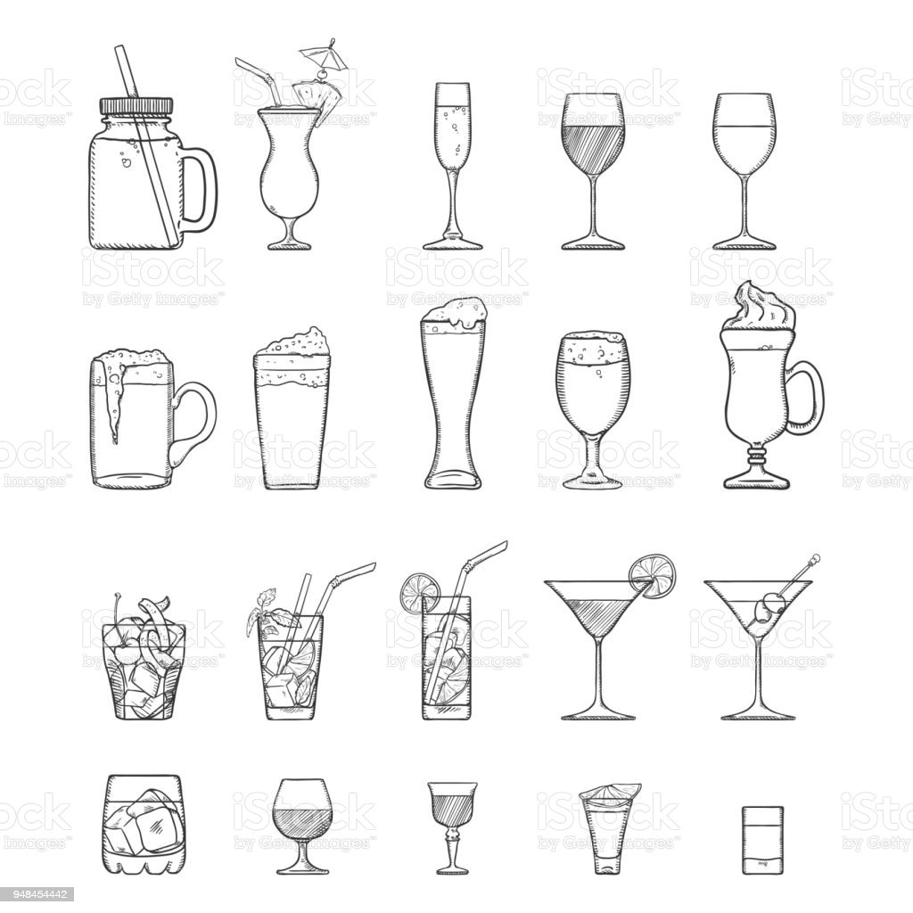 Vector Sketch Set of Alcohol, Soft Drinks and Cocktails. vector art illustration