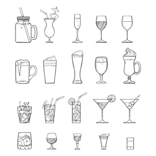 illustrations, cliparts, dessins animés et icônes de set vector sketch d'alcool, de boissons gazeuses et de cocktails. - mojito champagne