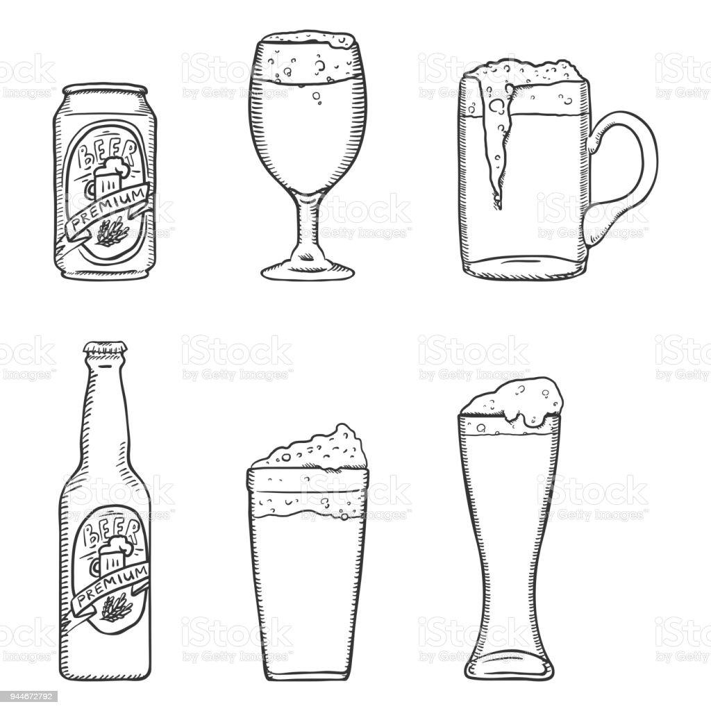 ilustração de conjunto de desenho vetorial de copos de cerveja