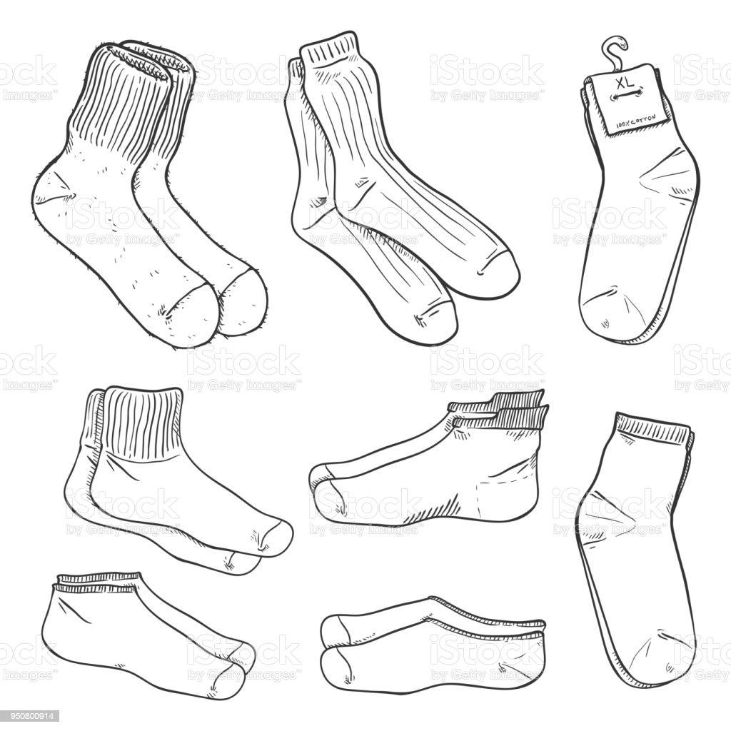 Ilustración de Vector Conjunto De Dibujo De Calcetines Diferentes y ...