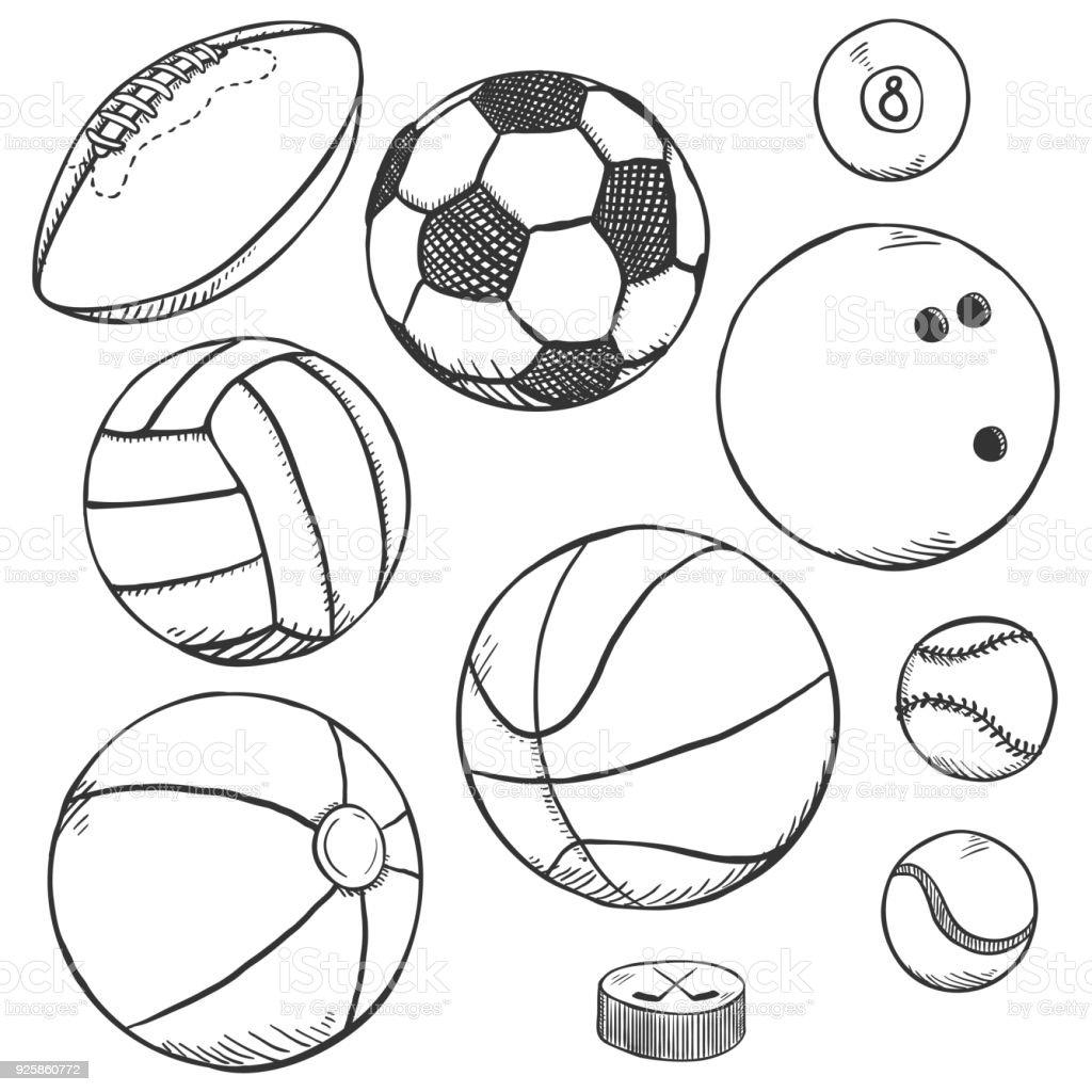 Vektor-Skizze-Set Sport Bälle – Vektorgrafik