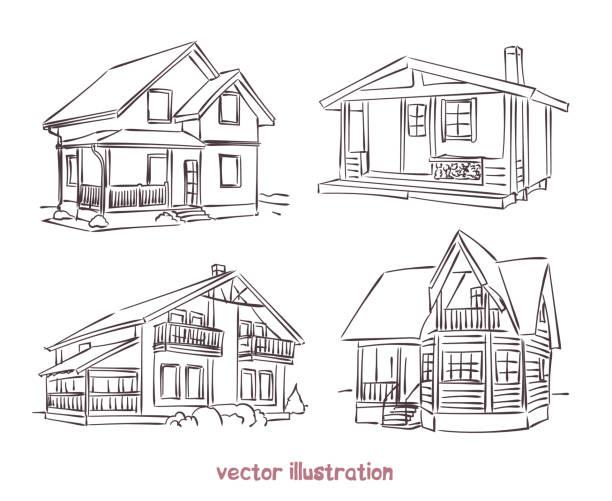 vector sketch set of wooden house Sketch set of wooden house. Vector isolated illustration for design on white background cottage stock illustrations