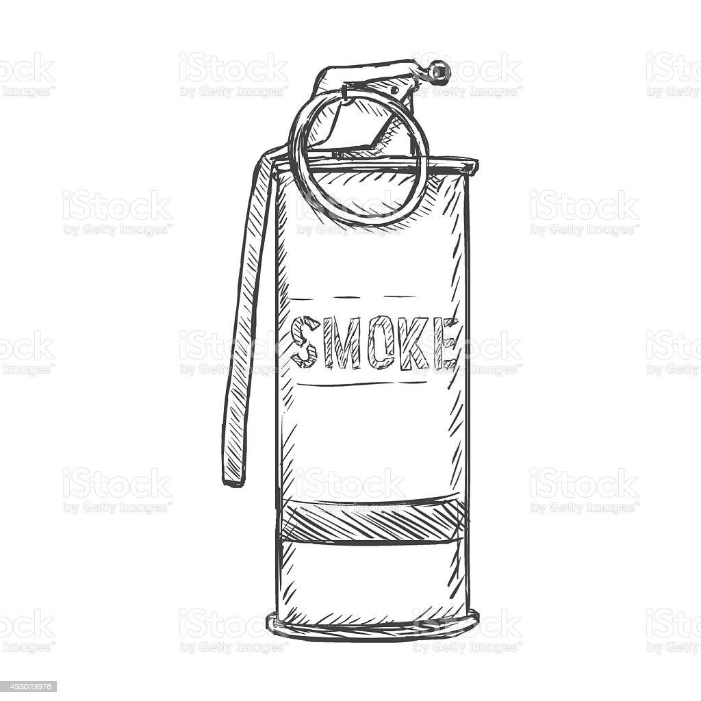Vector Sketch Smoke Grenade Stock Illustration Download Image