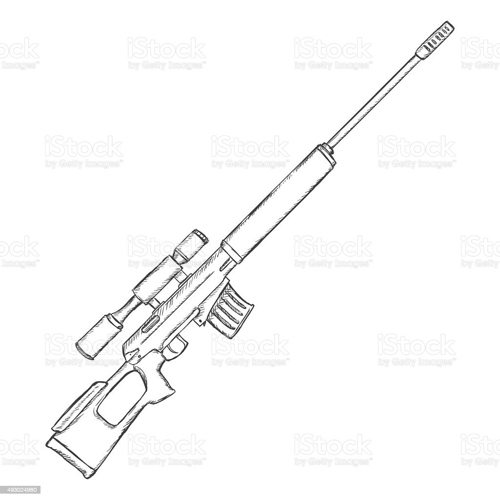 Vector Sketch Sniper Rifle Stock Illustration Download