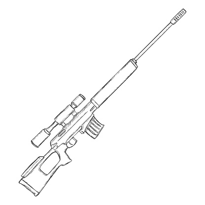 vector sketch sniper rifle stock illustration