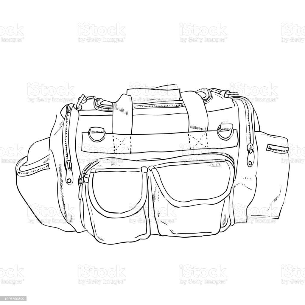 Vector sketch sports bag with pockets vector art illustration