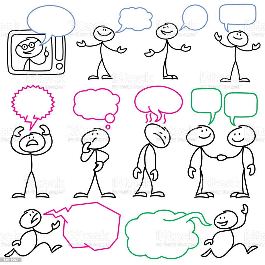 Vector Sketch Stick Figures With Blank Dialog Bubbles
