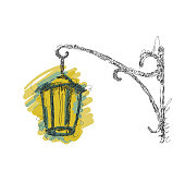 Vector sketch street lamp, lantern on white background, hand drawn illustration for your design
