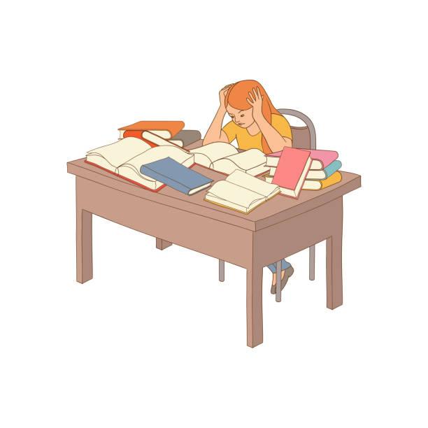 vector skizze betonte erschöpfte mädchen sitzen bücher - hochschulgetränke stock-grafiken, -clipart, -cartoons und -symbole