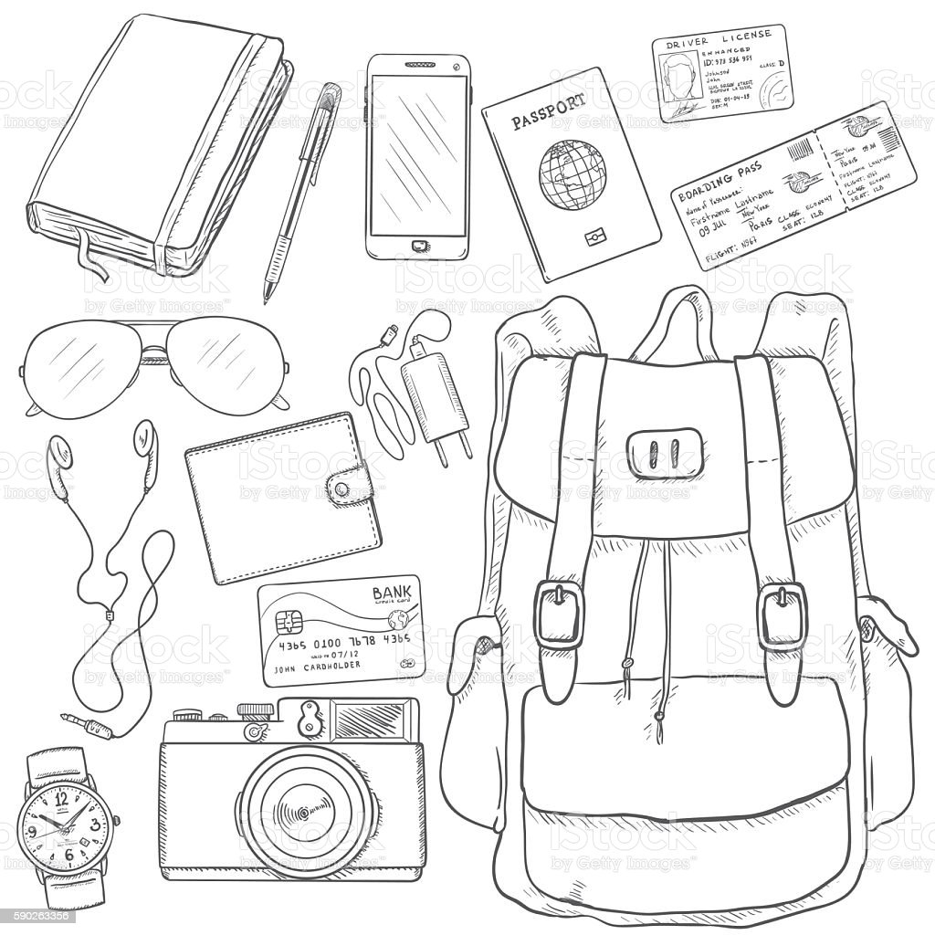 Vector Sketch Travel Set. vector art illustration
